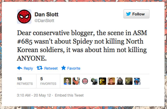 Another example of Dan Slott addressing me in a way that I would never see unless I was stalking his Twitter feed or a kind reader brought it to my attention. I wonder why I wasn't tagged or why Mr. Slott didn't comment here... Perhaps because he wouldn't be able to make disingenuous claims without having them shot to pieces.