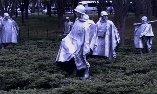 "Yesterday I spent time at the Korean War Memorial. It's at its most beautiful and most haunting in the rain or in the fog. ""The Forgotten War""? Not by all of us."