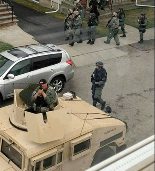 Nothing like putting an entire city on lock down for one guy, and then dragging women and children from their homes at gunpoint. Question: At what point did local police departments being to need equipment reserved for the national guard?