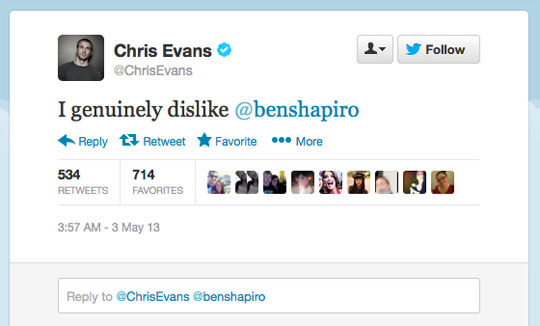 Chris Evans Twitter Ben Shapiro