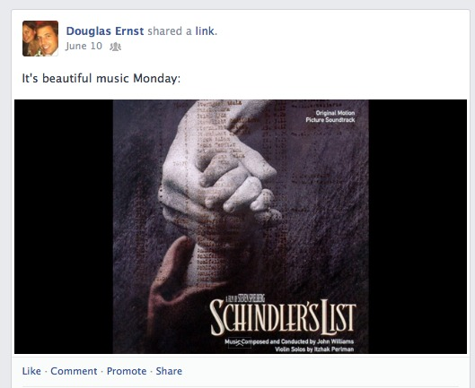 "How fitting that only 48 hours after my ""Beautiful Music Monday"" on Facebook, featuring Schindler's List, Dan Slott would call me ""immoral"" for writing this blog post. That's okay, Dan, there are many, many others that can see why making a man who wanted to transcend the world's most notorious dictator the new Spider-Man is so wrong."