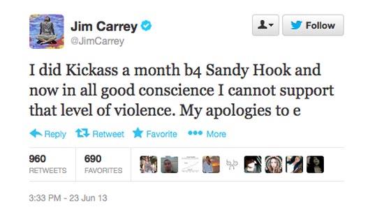 Jim Carrey Kickass 2 Tweet