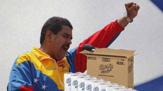 "Here we have Venezuelan president Nicholas Maduro telling the ""unwashed masses"" that if they put their fist into a ball and use it correctly, there is no need for toilet paper. True, the soap shortage will have to be figured out with the increased demand, but price controls will fix that, too. Or not."