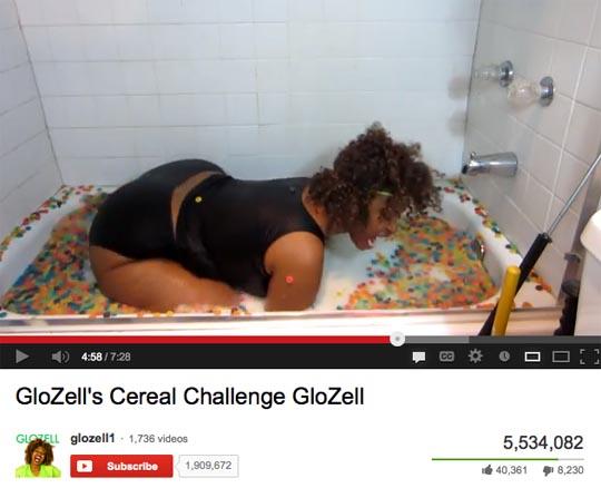 GloZell bathtub cereal challenge