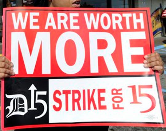 Fast Food Strike Sign