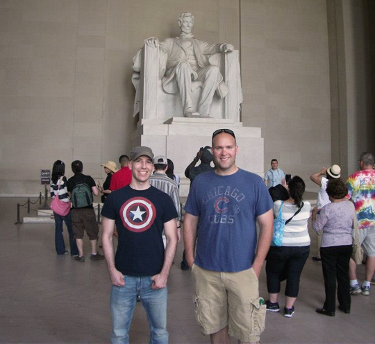 Here's me with a buddy over the summer at the Lincoln Memorial. Given the layout of the land, there is no reason why the monument should be barricaded off during a government shutdown.