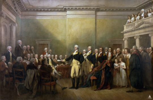 The painting General George Washington Resigning His Commission by John Trumbull is on display in the Rotunda of the U.S. Capitol. This painting depicts the scene on December 23, 1783, in the Maryland State House in Annapolis when George Washington resigned his commission as commander-in-chief of the Continental Army. The action was significant for establishing civilian authority over the military, a fundamental principle of American democracy. (Image: aoc.gov)