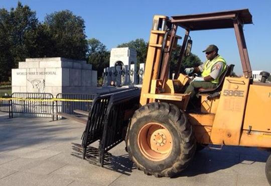 WWII Memorial barricade