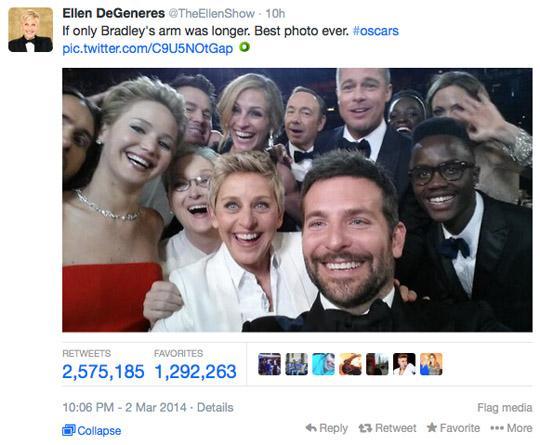 Ellen DeGeneres Oscar tweet