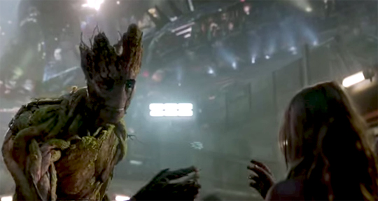 Groot with girl Guardians of the Galaxy