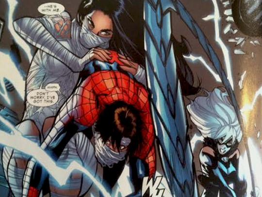 Silk saves Spider Man