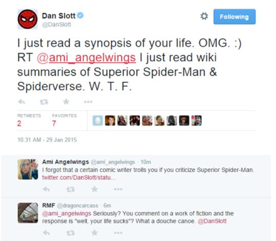 Dan Slott stalks girl Twitter