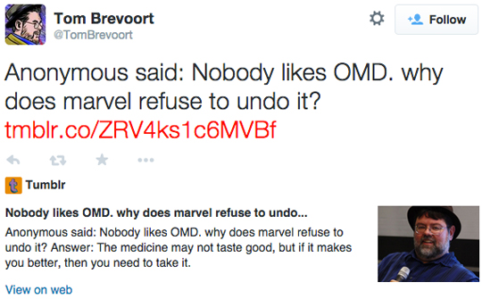 Tom Brevoort Twitter OMD