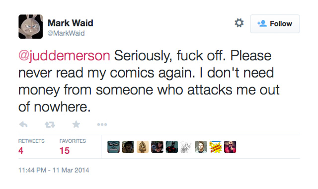Mark Waid F off tweet