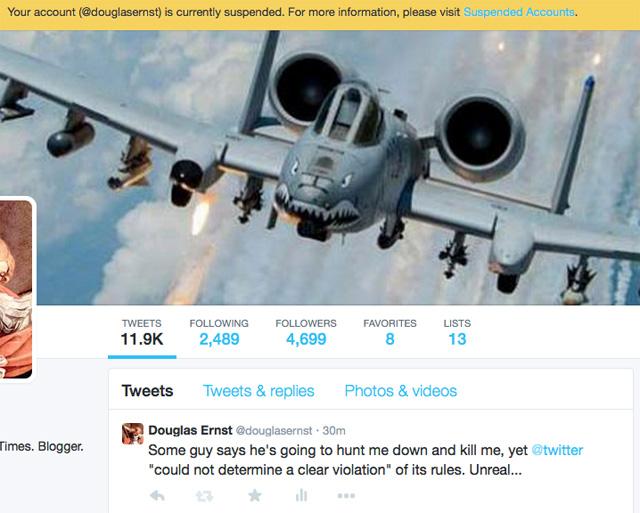 Twitter blocks Douglas Ernst