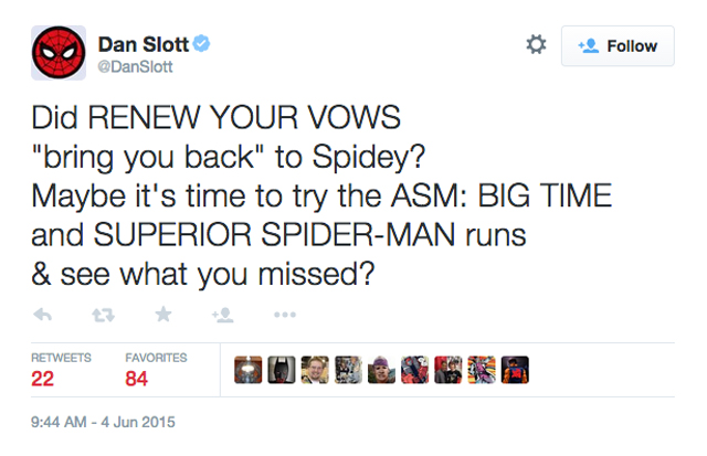 Dan Slott Renew Your Vows tweet