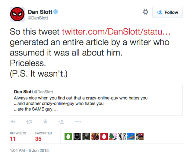 Dan Slott Twitter Backtrack