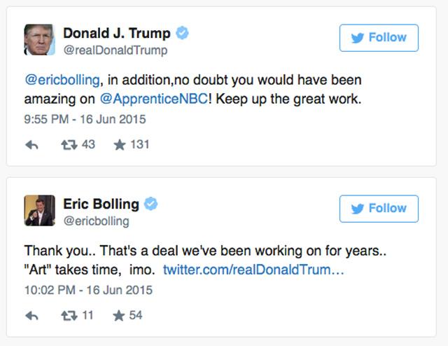 Eric Bolling Trump Twitter Love