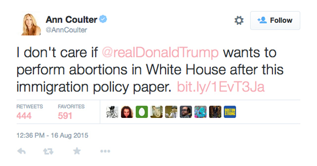 Coulter Trump Abortion Tweet
