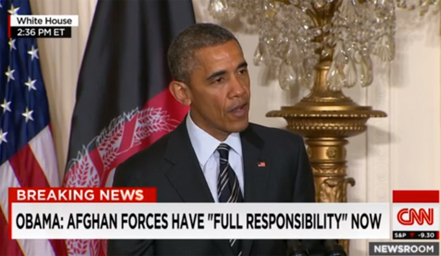 President Obama expresses frustration March 24, 2015 that his attempts to run from Afghanistan with a come-what-may attitude are being thwarted by harsh reality. (Image: CNN screenshot)
