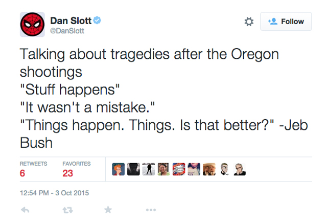 Dan Slott Oregon Shooting