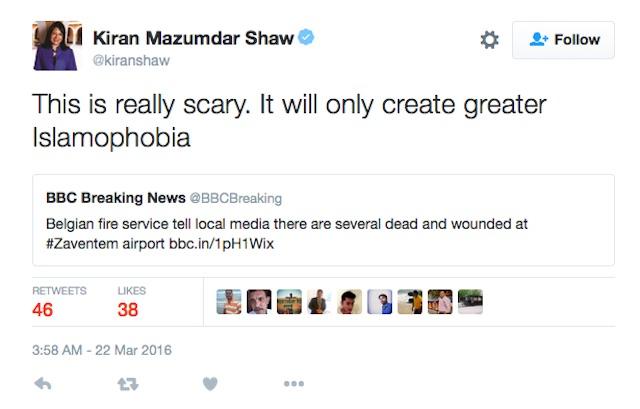 Kiran Mazumdar Shaw Belgium terror
