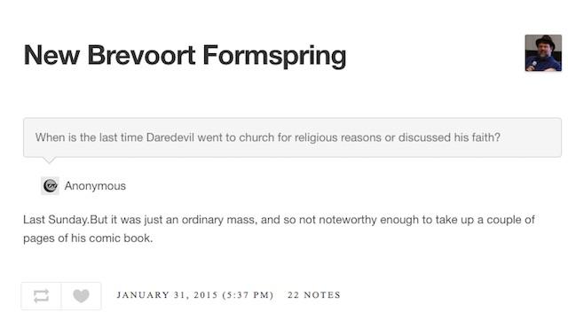 Brevoort Formspring Daredevil