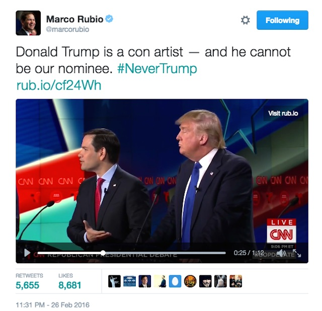 Marco Rubio NeverTrump tweet