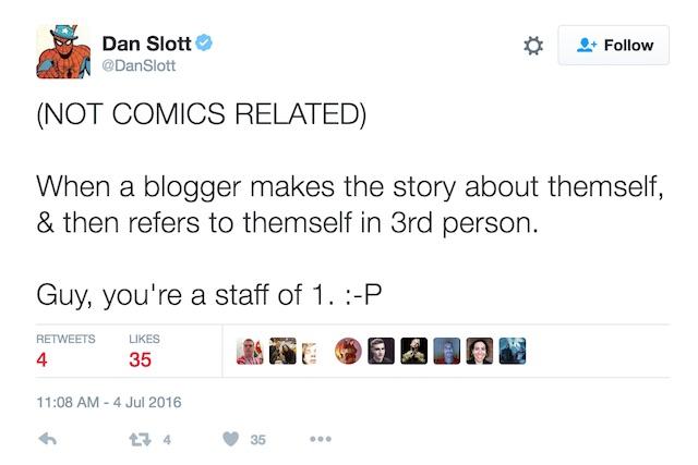 Dan Slott stalking tweet