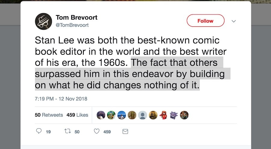 Tom Brevoort Stan Lee tweet