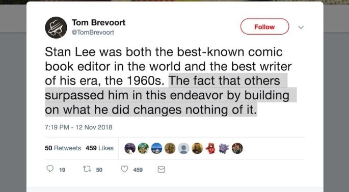 Tom Brevoort Stan Lee tweet